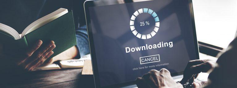 Laptop Showing Downloading Screen
